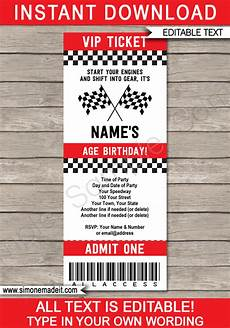 Free Printable Race Car Birthday Invitations Race Car Party Ticket Invitations Race Car Birthday
