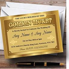 Golden Ticket Invitation Golden Ticket Personalised Wedding Invitations Ebay