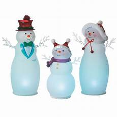 Lighted Snowman Family Set Of 3 Lighted Large Snowman Family Acrylic Lighted Figurines