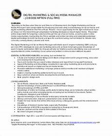 Advertising Executive Job Description 11 Marketing Manager Job Description Free Sample