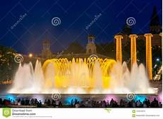 Barcelona Night Light Show Night View Of Famous Magic Fountain Light Show In