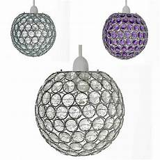 Acrylic Ball Pendant Light Chrome Acrylic Crystal Effect Jewels Ball Ceiling Light