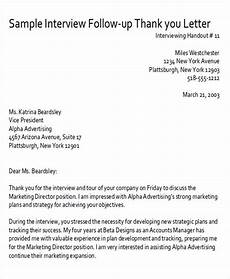 Follow Up Letter After Interview Sample Thank You Follow Up Letters 6 Examples In Word Pdf