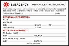Medical Alert Cards Templates Free Medical Alert Identification Card Download And