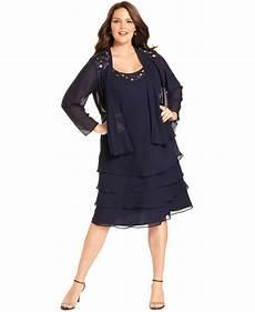 Sl Fashions Dress Size Chart Sl Fashions Plus Size Dress And Jacket Sleeveless Tiered