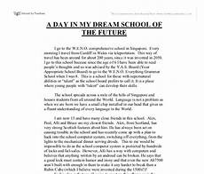 My Dream Essay The School Of My Dreams Gcse English Marked By