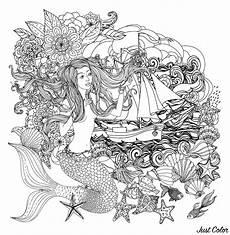 Ausmalbilder Erwachsene Meerjungfrau Mermaid And Boat Mermaids Coloring Pages