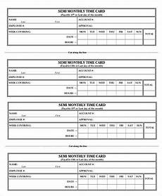 Semi Monthly Time Card Printable Time Card Template 12 Free Word Excel Pdf