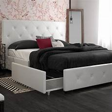 dakota upholstered bed with storage drawers dhp furniture