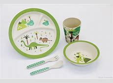 2019 Set Green Dinosaur Print Baby Bamboo Round Dinner