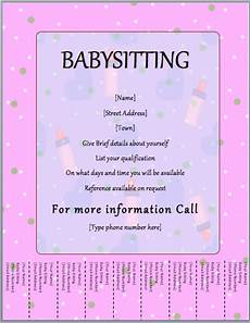 How To Write An Ad For Babysitting Babysitter Flyer Template Tear Off Word Templates