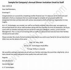 Staff Dinner Invitation 187 Annual Dinner Invitation Email To Staff