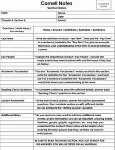 Cornell Notes Avid Avid Cornell Notes Template Shatterlion Info