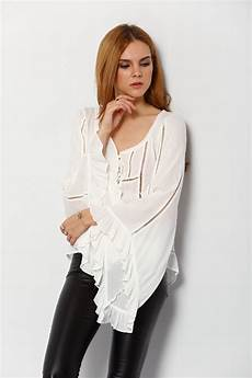 womens bell sleeve tops and blouses white bell sleeve hollow lace up blouse shein sheinside