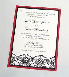 White On White Wedding Invitations Bella Damask Wedding Invitation Sample Black White And Red