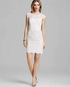 cap sleeve dresses for lyst shoshanna dress cap sleeve lace in white