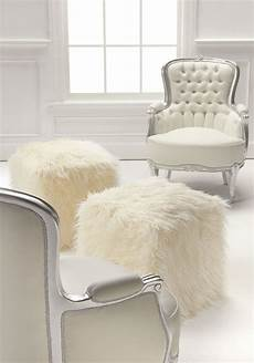 Esituro Ottoman Padded Footstool Fur Pouffe Chair by Ivory Mongolian Faux Fur Pouf Footstool Fabulous
