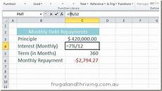 Calculate Debt Repayment Calculate Loan Repayments In Excel Using The Pmt Function