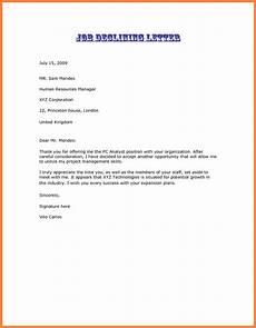 Decline Letter 3 Decline A Job Offer Marital Settlements Information
