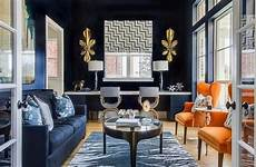 Contemporary Blue Modern Living Room With Navy Blue Walls