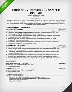 Resume For Food Industry Free Resume Templates Server Resume Resume Objective