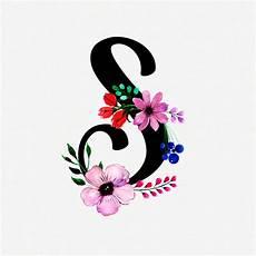 flower wallpaper letter letter s watercolor floral background vector premium