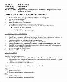 Medical Assistant Job Description Sample Free 8 Sample Office Assistant Job Description Templates