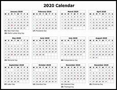 2020 Fiscal Year Calendar Full Page Yearly Calendar 2020 Printable Template One