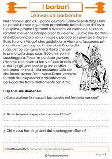 test ingresso italiano prima media i barbari schede didattiche per la scuola primaria
