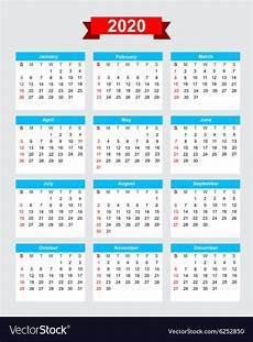 Week Calendar 2020 Calendar Week Start Sunday Royalty Free Vector Image