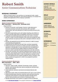 Communication Technician Resume Communications Technician Resume Samples Qwikresume
