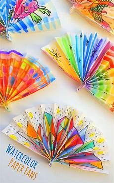 watercolor painted paper fans and crafts for