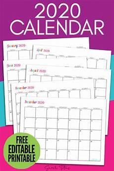online printable calendar 2020 custom editable 2020 free printable calendars titus