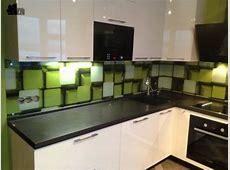 Colorful Glass Backsplash Ideas Adding Digital Prints to Modern Kitchen Design