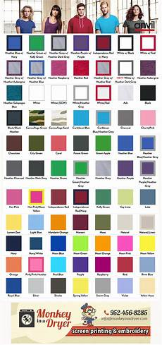 Anvil 980 Color Chart Anvil Swatch Color Chart Monkey In A Dryer Screen Printing