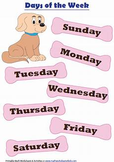 Printable Days Of The Week Chart Days Months And Seasons Charts And Worksheets