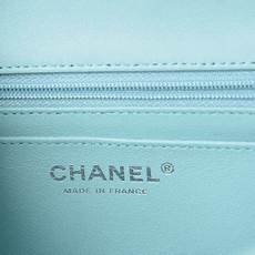 Chanel Mini Light Blue Chanel Lambskin Quilted Mini Rectangular Flap Light Blue