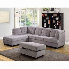 3 corduroy contemporary left facing sectional sofa