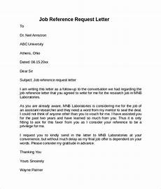 Request For A Letter Of Recommendation Free 7 Job Reference Letter Templates In Pdf