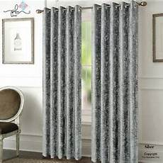 silver crushed velvet curtains pair of eyelet ring top