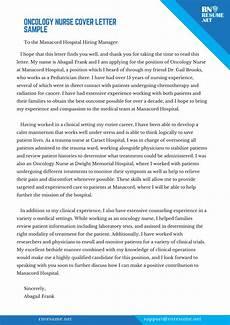 Pediatric Nurse Cover Letters Oncology Nurse Cover Letter Let Our Team Help You