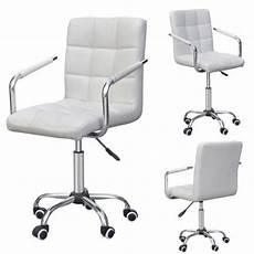 Warmiehomy Office Chair Swivel Faux Leather Armchair Height Adjustable by Modern White Pu Faux Leather Swivel Office Executive