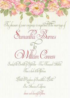 At Home Invitation Garden Roses Wedding Invitation Print At Home Template