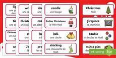 Word Christmas Card Christmas Topic Word Cards English French Christmas