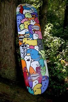 Diy Longboard Deck Design Custom Skateboard Done In Acrylic And Sharpie Skateboard