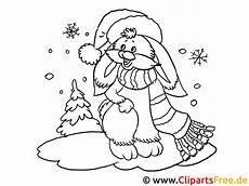 kostenloses ausmalbild hase im winter