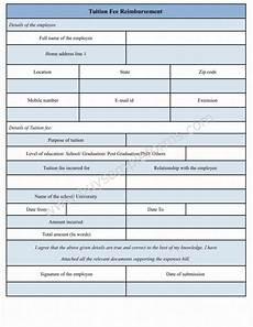 Reimbursement Format Tuition Fee Reimbursement Form Template Sample Forms