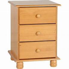 sol 3 drawer bedside chest in antique pine brixton beds
