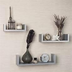 Light Grey Floating Shelves Set Of 3 White Floating U Shelves For Your Home Interior