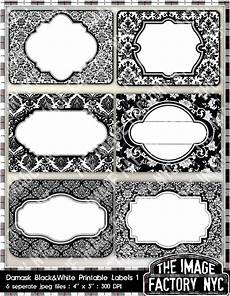 Christmas Labels Black And White Black And White Damask Printable Labels Amp Tags For Gift Tags